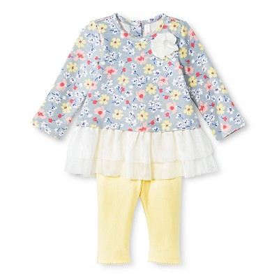 Baby Girls' Floral Tunic and Legging Pant Set Gray 0-3M - Cherokee®