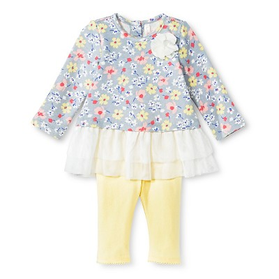 Baby Girls' Floral Tunic and Legging Pant Set Gray 3-6 M - Cherokee®