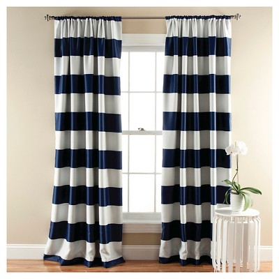Stripe Curtain Panels Room Darkening - Set of 2 - Navy