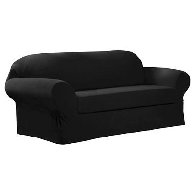 Maytex Collin Stretch 2 Piece Slipcover Sofa -  Black