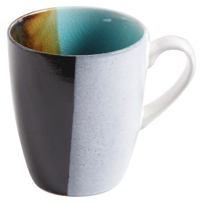 Gibson Elite Quadrangle 4-pc. 15 oz Mug Set - Blue Crackle Glaze