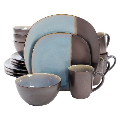 Gibson Elite Volterra Soft Square 16Pc Dinnerware Set - Blue