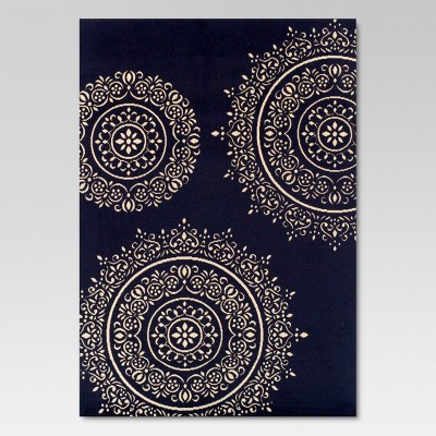7'x10' Outdoor Rug - Navy Medallion - Threshold™