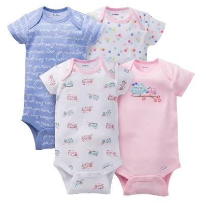 Gerber® Baby Girls' 4pk Owl Onesies® - Pink 24 M
