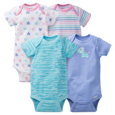 Gerber® Baby Girls' 4pk Zebra Onesies® - Purple 18 M