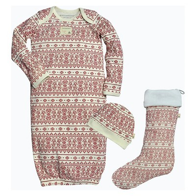 Burt's Bees Baby™ Infants' Holiday Gown & Stocking Pajamas Set - Fair Isle Ivory 0-9M