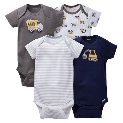 Gerber® Baby Boys' 4pk Truck Onesies® - Grey/Brown 18 M