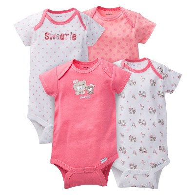 Gerber® Baby Girls' 4pk Bear Onesies® - Coral 18 M