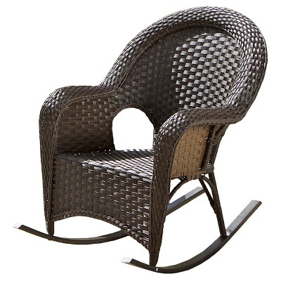 Christopher Knight Home Woodlands Wicker Patio Rocker - Brown