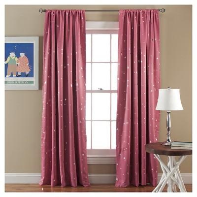Star Curtain Panels Room Darkening - Set of 2 - Pink