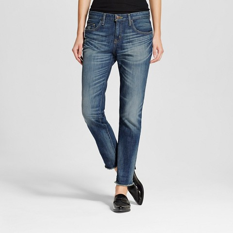 Women's Midrise Crop Boyfriend Jean Dark Wash - Mossimo