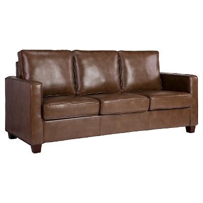 Square Arm Bonded Leather Sofa - Camel - Threshold™