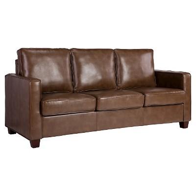 Square Arm Bonded Leather Sofa - Camel - Threshold™