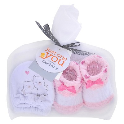 Just One You™ Made by Carter's® Baby Girls' Kitty Mittens/Bootie Set - White/Pink OSFM
