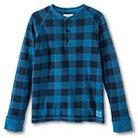 Boys' Buffalo Check Long-Sleeve Henley Shirt - Electric Blue
