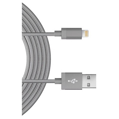 Lightning USB Charging Cord - Just Wireless 6 Ft - Metallic Mesh