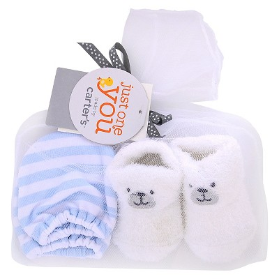 Just One You™ Made by Carter's® Baby Boys' Bear Mittens/Bootie Set - White/Blue OSFM