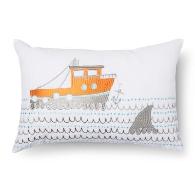 "Charlie Boat Throw Pillow (18""x12"") Orange - Sabrina Soto™"