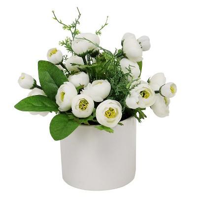 """Threshold™ Ranunculus in Ceramic Pot - White (9"""")"""