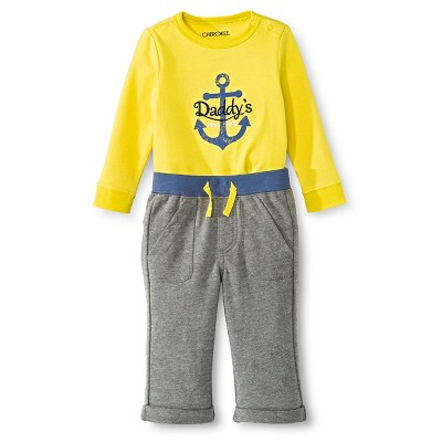 Cherokee® Baby Boys' Anchors 2-Piece Active Pant Set -  Yellow 0-3 M