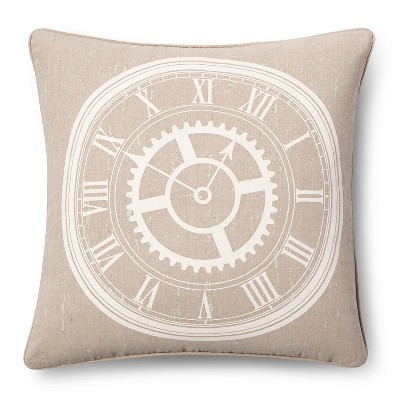 Clock Throw Pillow - Linen (18x18) - The Industrial Shop™