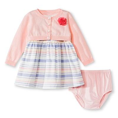 Cherokee® Baby Girls' Stripe 3-Piece Sun Dress Set - Pink 0-3