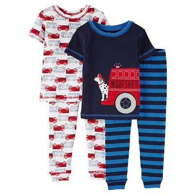 Toddler Boys' 4 Piece Short Sleeve/Short Sleeve PJ Set Blue 4T - Just One You™Made by Carter's®