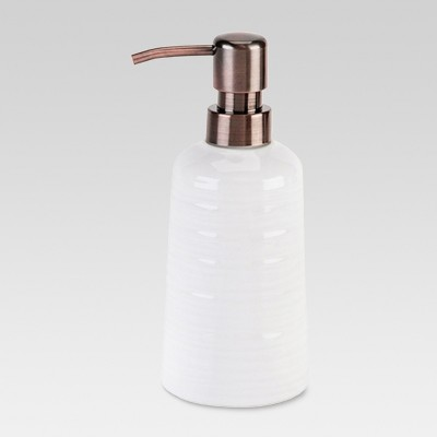 Threshold™ Ribbed Ceramic Soap Pump - White