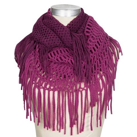 Womens Ombre Open Knit Infinity Scarf with Frin... : Target