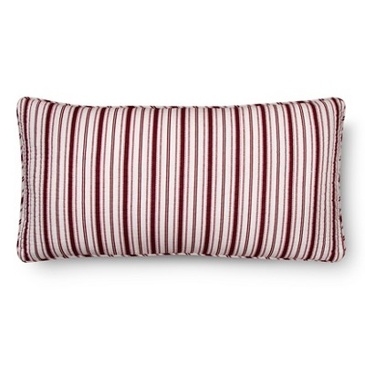 Urban Stripe Quilted Throw Pillow - Red (12x24) - The Industrial Shop™