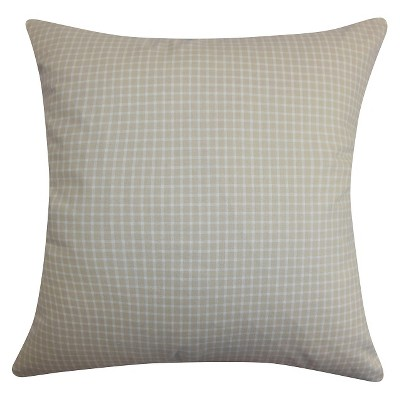 "Gingham Throw Pillow Beige (20""x20"") - The Pillow Collection"