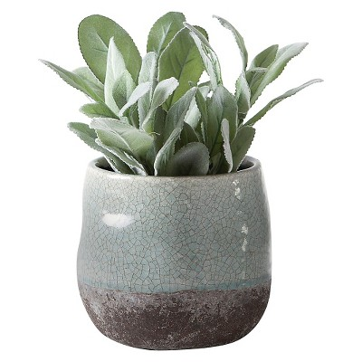 "Corsica Ceramic Crackle 2 Tone 4"" Round Pot - Blue (Does Not Include Plant)"