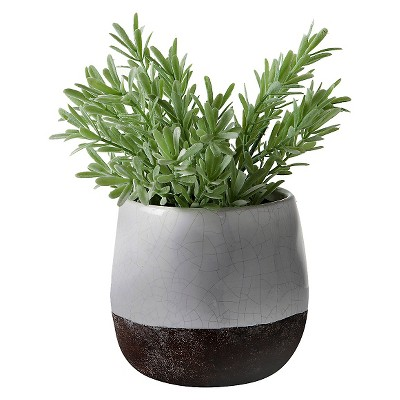 "Corsica Ceramic Crackle 2 Tone 4"" Round Pot - White (Does Not Include Plant)"