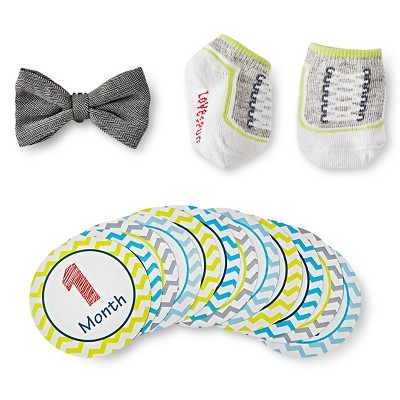 Baby Birthday Milestone Sticker Bow and Sock Gift Set