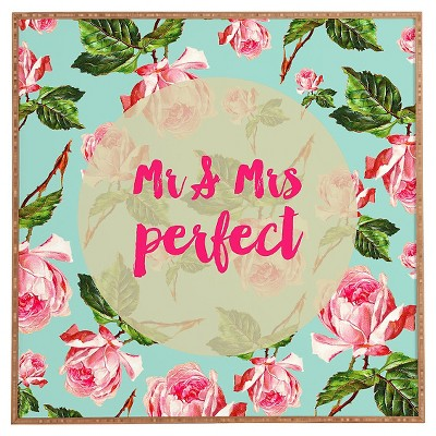 DENY Designs Allyson Johnson Floral Mr and Mrs Perfect Framed Wall Art