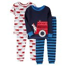Toddler Boys' 4 Piece Shore Sleeve/Long Sleeve PJ Set Blue  - Just One You™Made by Carter's®