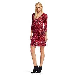 Women's Long Sleeve Wrap Dress Red Leopard Print - Leyden