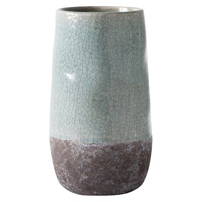 Tall Corsica Ceramic Crackle Two Tone Oval Pot - Blue - Torre & Tagus