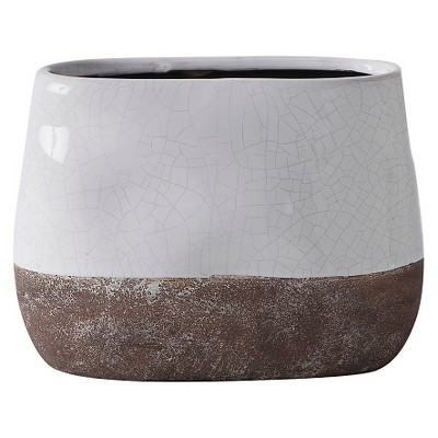 Tall Corsica Ceramic Crackle Two Tone Oval Pot - White - Torre & Tagus