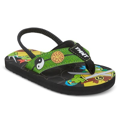 Toddler Boys' Teenage Mutant Ninja Turtles Flip Flop Sandals - Black S (5-6)