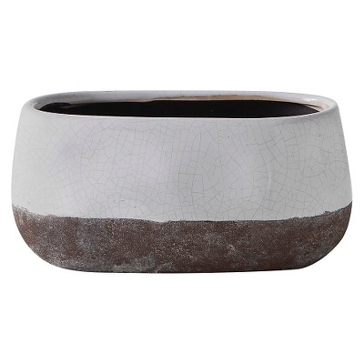 Short Corsica Ceramic Crackle Two Tone Oval Pot - White - Torre & Tagus