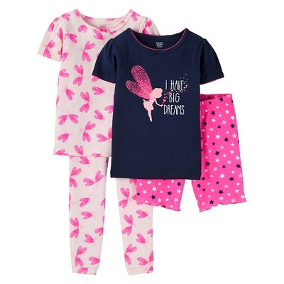 4T Toddler Girls' Snug Fit Cotton 4-Piece Pajama Set - Just One You™ Made by Carter's®