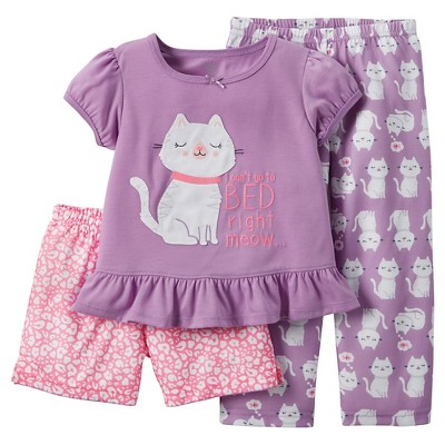 Just One You™ Made by Carter's® Baby Girls' 3-Piece Cat Pajama Set Purple 12M
