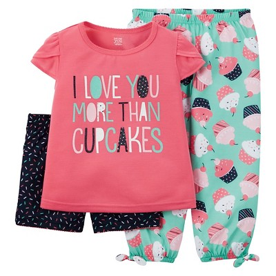Just One You™ Made by Carter's® Baby Girls' 3-Piece Cupcake Pajama Set Coral 12M