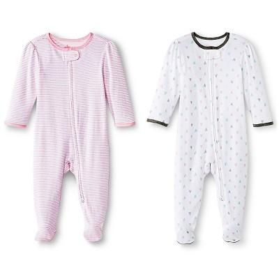 Circo™ Baby Girls' 2-Pack Footed Sleeper - Pink NB