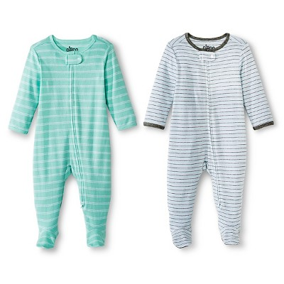 Circo™ Baby 2-Pack Striped Footed Sleeper - Aqua 3-6 M