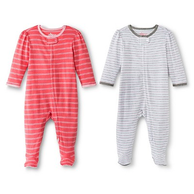 Circo™ Baby Girls' 2-Pack Striped Footed Sleeper - Pink 3-6 M