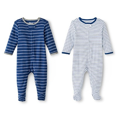 Circo™ Baby Boys' 2-Pack Striped Footed Sleeper - Navy 0-3 M