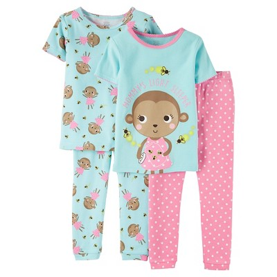 2T Toddler Girls' Snug Fit Cotton 4-Piece Pajama Set - Just One You™ Made by Carter's®