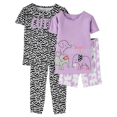12M Baby Girls' Snug Fit Cotton 4-Piece Pajama Set - Just One You™ Made by Carter's®